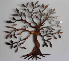 wall design ideas brown tree outdoor metal wall decor and