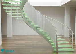 architecture stair lights with glass stairs and iron railing plus
