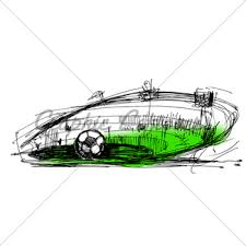 sketch on a football gl stock images