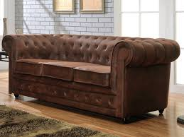 canapé cuir chesterfield canapé 3 places chesterfield en microfibre aspect cuir vieilli