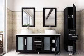 Vessel Sink Cabinets Jwh Living 59 U0026quot Lune Double Sink Vanity Glass Top