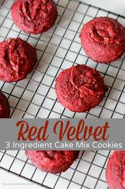 red velvet 3 ingredient cake mix cookies recipe red velvet