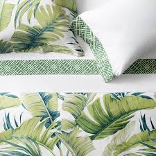 Green Double Duvet Cover Tropical Leaf Bedding Green Williams Sonoma
