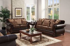 franklin style two tone dark brown sofa and love seat set with