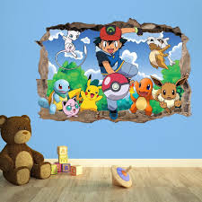 pokemon go 3d kids wall sticker 3d bedroom boys girls 100cm w x pokemon go 3d kids wall sticker 3d bedroom boys girls 100cm w x 70cm h amazon co uk kitchen home