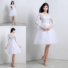 white lace dress with sleeves knee length 2015 white lace 3 4 sleeves wedding dresses a