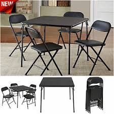5 Piece Folding Table And Chair Set 5 Piece Folding Card Game Dining Table Set And Chairs Black Party