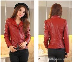 2017 2016 women short slim small leather jacket girls coats