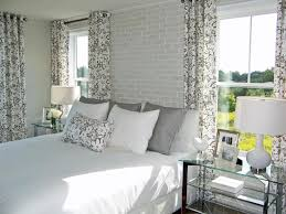 glass side tables for bedroom floral curtain and white bed for monochromatic bedroom ideas with