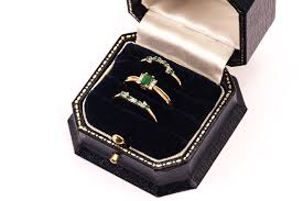 velvet bentley a set of three 9ct gold emerald and diamond rings from brooks