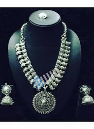 silver necklace sets images Maa designer pendant german silver necklace set jpg