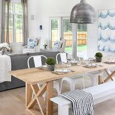 Farm Table With Bench And Chairs White Metal Dining Chairs Design Ideas