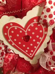 White Deco Mesh Valentine Heart Red White Deco Mesh Wreath Wooden Heart Wreaths