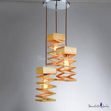Modern Multi Light Pendants Spiral Wood Three Light Designer Multi Light Pendant Light With