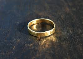 hammered gold wedding band rings