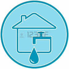 House Faucet Blue Icon With Drop Faucet And House Silhouette Royalty Free