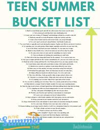 summer bucket list for teens summer bucket list printable