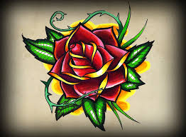 traditional rose tattoo flash http www facebook com