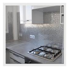 revetement mural cuisine inox carrelage metallique plaque de mosaique inox mix polished en