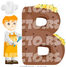 vector of alphabet letter b with a baker boy by bnp design studio