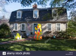 easter decoration in front of a house in lexington massachusetts