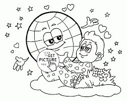 cute earth and baby dream earth coloring page for kids coloring