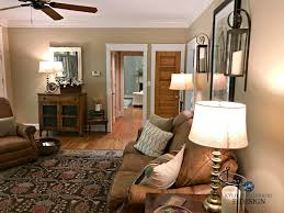 Living Rooms With Brown Leather Furniture Benjamin Moore Lenox Tan In Farmhouse Country Style Living Room