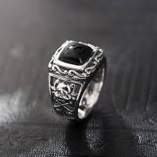 aliexpress buy mens rings black precious stones real vintage black onyx ring vintage 100 real 925 sterling silver