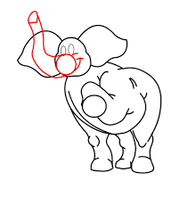 how to draw a cartoon elephant in easy steps