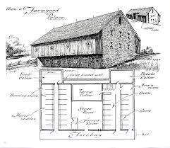 farmyard barn barn floor plan 1967 vintage print black
