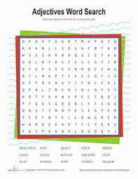 adjectives word search worksheet education com