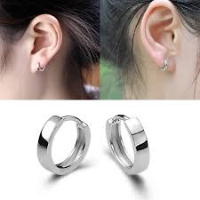 silver sleeper earrings white gold silver plated mens womens hoop huggies sleeper