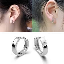 silver sleeper earrings white gold silver plated mens womens hoop huggies sleeper