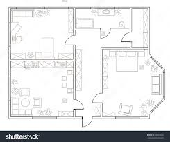 abstract vector plan twobedroom apartment kitchen stock vector