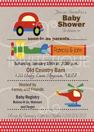 cars trucks planes red baby shower invitation transportation