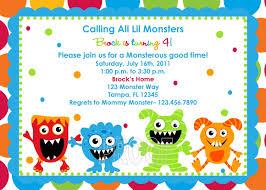 Example Of Invitation Card For Birthday Monster Birthday Invitations Kawaiitheo Com