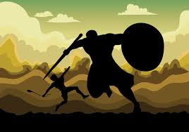 david and goliath vector illustration download free vector art