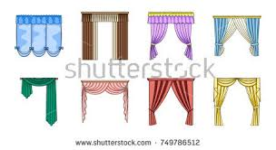 Different Kind Of Curtains Window Curtain Vector Set Download Free Vector Art Stock
