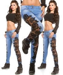 Plus Size Ripped Leggings 2017 New 2016 Women Lace Stitching Jeans Plus Size Ripped Jeans