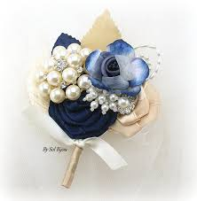 gold boutonniere boutonniere ivory navy blue chagne gold