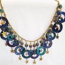 necklace metal images Unbranded jewelry new age statement necklace gold tone blue metal jpg