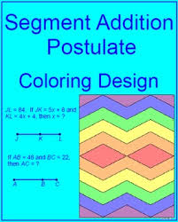 Segment Addition Postulate Worksheet Line Segments Segment Addition Postulate Coloring Activity 1 Tpt