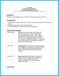 Singer Resume Sample by The Best And Impressive Dance Resume Examples Collections