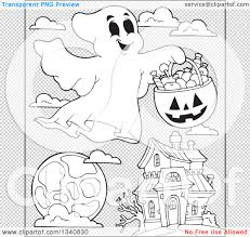 halloween black and white background lineart clipart of a cartoon black and white happy halloween ghost
