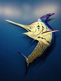 fighting blue marlin powdercoat fish bone design themetaledge
