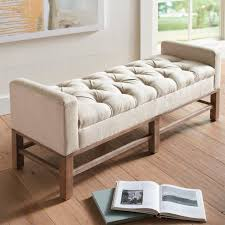 Padded Bench Seat With Storage Off White Button Tufted Storage Bed Bench