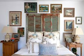 old shutters repurposed as unique headboard for the shabby chic