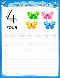 writing practice number four printable worksheet for preschool