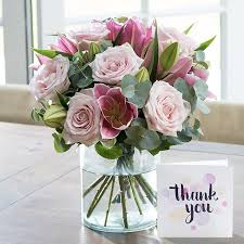 thank you flowers thank you card with pink