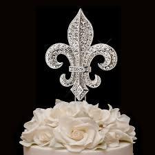 fleur de lis rhinestone cake topper decor ideas